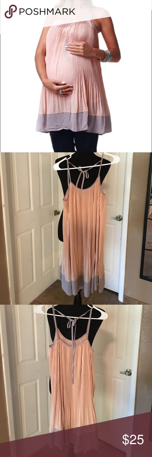 PinkBlush Maternity Top/Dress Chiffon Grey/Peach M PinkBlush Maternity Top or Dress in Knife Pleated Chiffon, Grey and Peach with strappy detail in back. Medium, worn maybe twice to work during pregnancy. No lining, not see through. Pinkblush Dresses