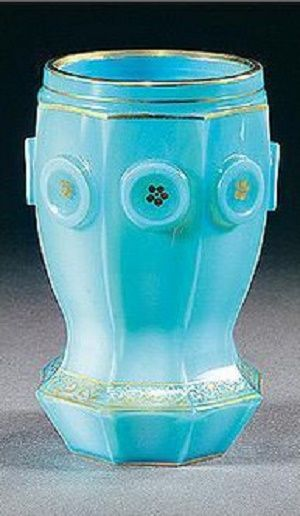 A South Bohemian gilt turquoise `Agatin-opal' beaker, Count Buquoy Glassworks,...