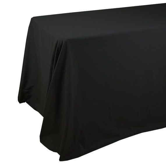 90 X 156 Inch Black Rectangular Tablecloths With Rounded Corners, Black  Oblong Table Cloths For