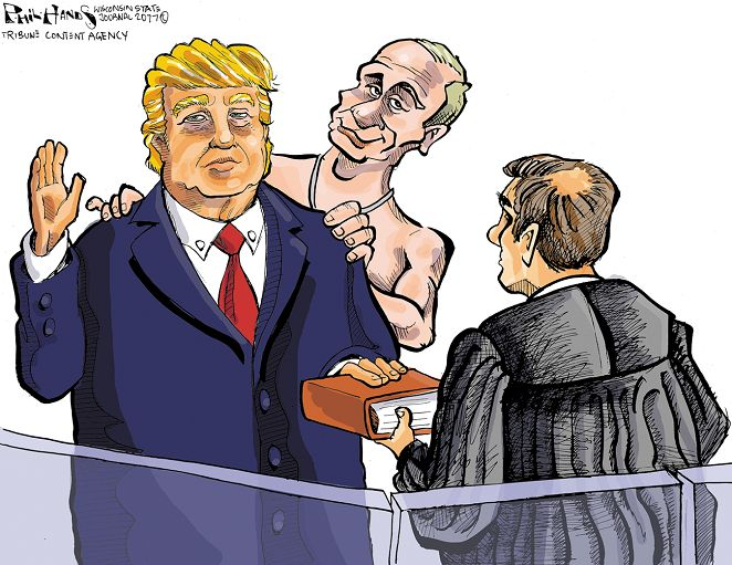 Editorial cartoon on President Donald Trump and Vladimir Putin