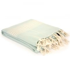 Hand-loomed cotton towel - soft turquoise