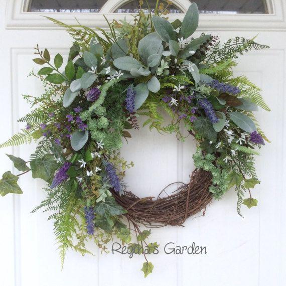 Spring Wreath-Lavender Wreath-Summer by ReginasGarden on Etsy