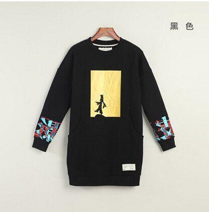 Long Sleeve Hoodies O-neck Pullovers Medium-long Hoodies Sweatshirts