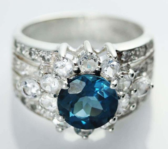 LONDON BLUE TOPAZ  GEM STONE 9 RING SIZE [SJ1462]SH  NATURAL LONDON BLUE TOPAZ GEMSTONE RING   FROM GEMROCKAUCTIONS.COM