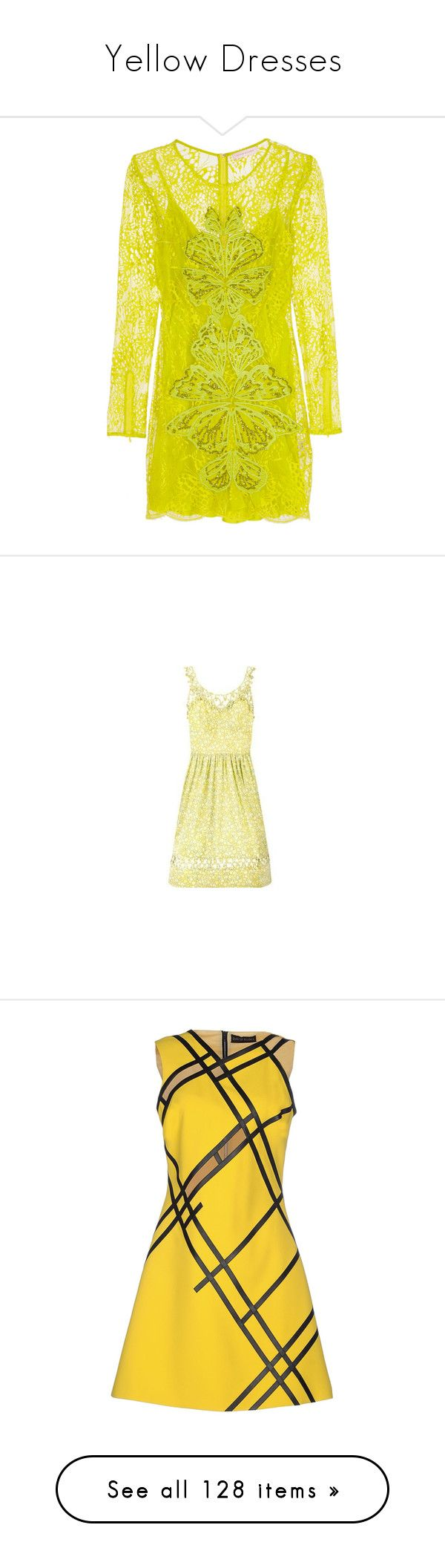 """Yellow Dresses"" by cattyrose ❤ liked on Polyvore featuring dresses, matthew williamson, long-sleeve mini dress, long-sleeve lace dresses, long sleeve dresses, yellow mini dress, long sleeve short dress, floral day dress, floral design dresses and anna sui"