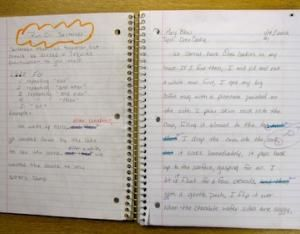 """Grammar Journals ... interesting way to teach/integrate grammar lessons. Left side is the grammar lesson with rules; right side is their attempts at using it in their own way with a writing prompt. Then, you assess them during the week as a """"bellringer""""or """"do now"""" assignment."""
