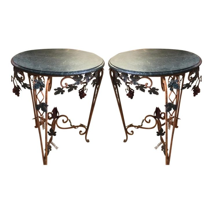 Pair of Vintage Iron Tole & Marble Tables W Grape Vines