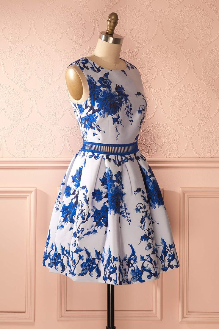 Elianette - Blue floral jacquard dress