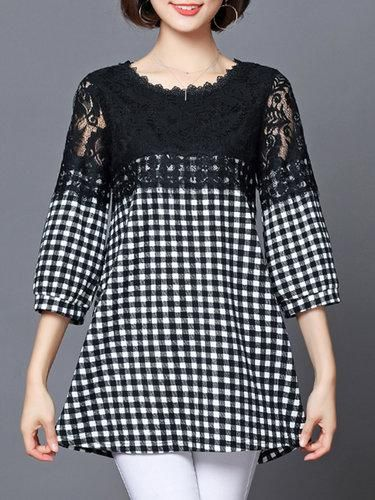5f784867e4cd Shop PopJulia Crew Neck Gingham Lace Paneled Tunic online! Get outfit ideas  & style inspiration from fashion designers at AdoreWe.com!