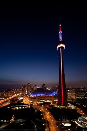Toronto by night, CN Tower. I remember eating in a restaurant in here!