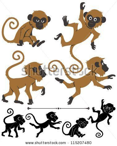 Monkeys: Cartoon monkey in 4 different poses: