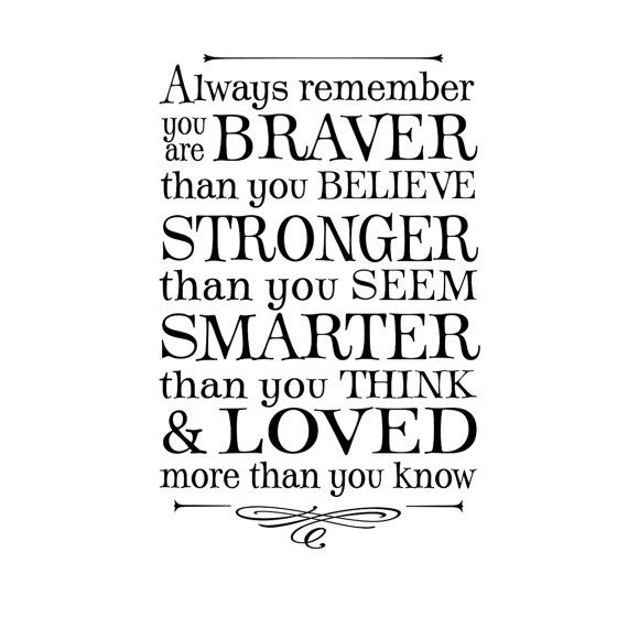 Always remember you are braver than you believe...winnie the pooh quote, lettering art, vinyl wall decal