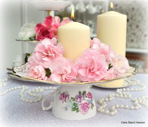 Teacup and cake plate table centrepiece.