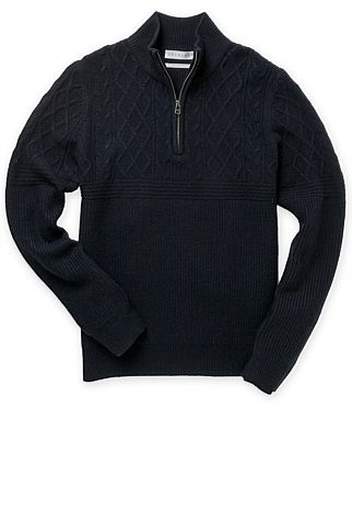 Spliced Cable Half Zip Knit