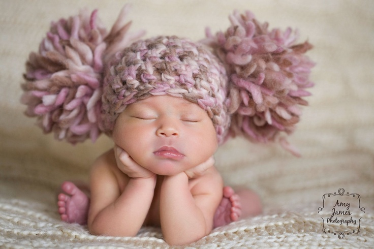 Newborn Photography Prop Baby Girl Infant Crochet Knit Beanie Chunky Double Pom Pom Hat Pink Cream Ivory Off White Beige Brown. $35.00, via Etsy.