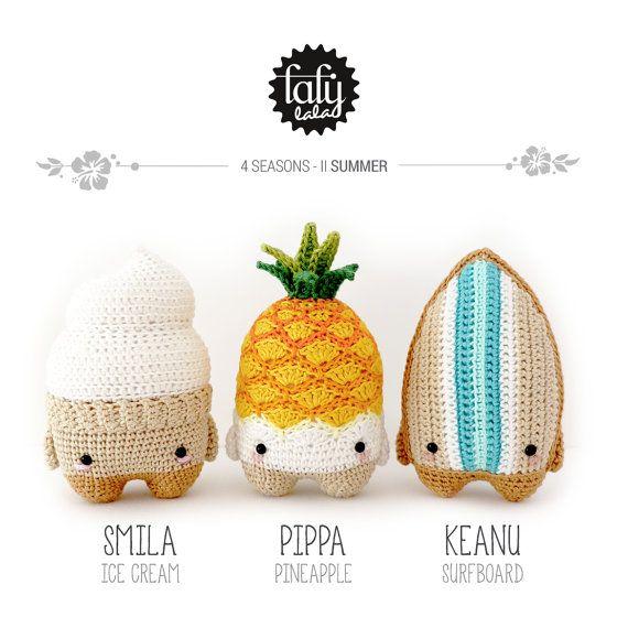 4 seasons: VERANO (cono helado, piña, surfboard) • lalylala patrón de crochet / amigurumi