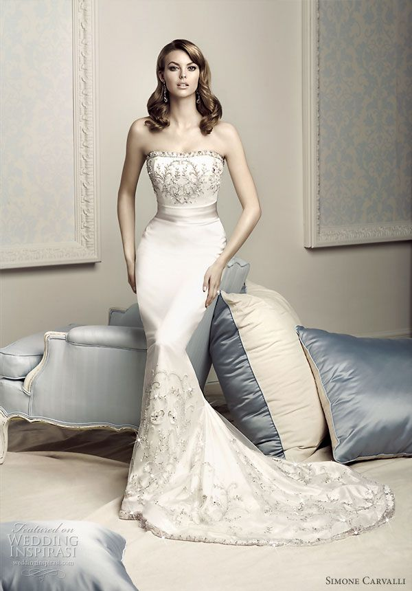 Simone Carvalli  bridal gown collection - strapless mermaid wedding dress with crystal  embroidered details around the bodice and hem of skirt