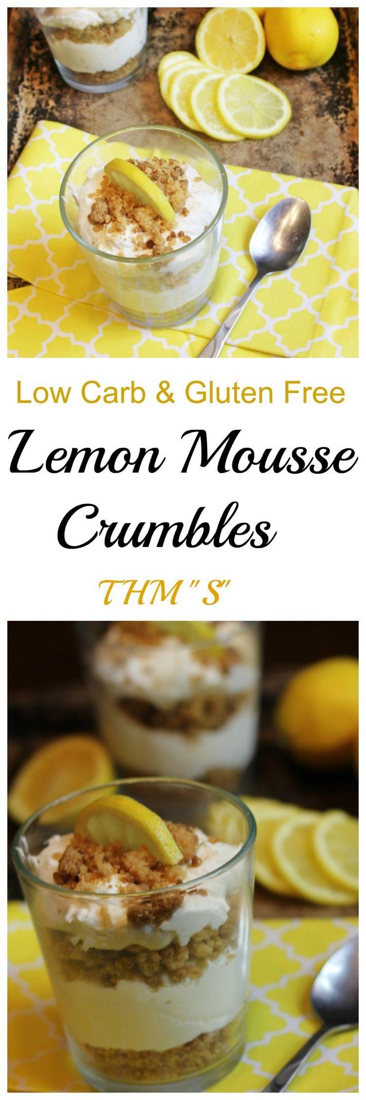 Lemon Mousse Crumbles || Lemon Desserts, Low Carb, Sugar Free, Gluten Free, Trim Healthy Mama, Summer Desserts, Easy Desserts