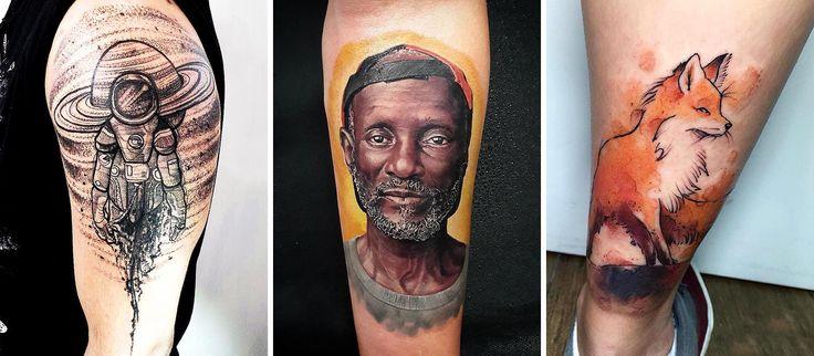 Em 2016 alguns artistas brasileiros se destacaram na cena da tatuagem. Selecionamos 21 deles. Nessa foto os trabalhos de Japa Art Work, Fernando Tampa e Dell Nascimento. #tattoo #tatuagem #raposa #realismo #sketch
