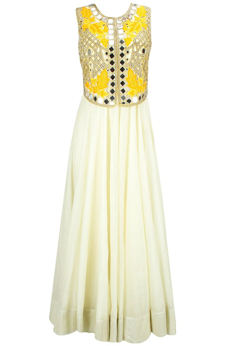 Light yellow anarkali set with mirror work falisa vest available only at Pernia's Pop-Up Shop.
