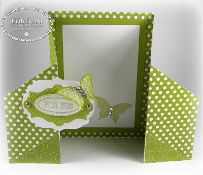 Flip and Fold card, fun and easy to make. She provides a video tutorial on her site.