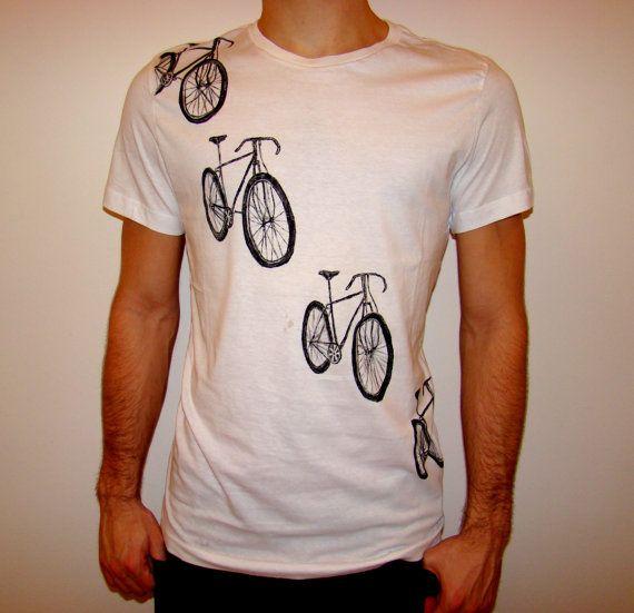 Tour de France Shirt Men's hand painted t shirt biking