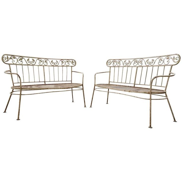 Circa 1960's Iron Mid-Century Lawn Benches | From a unique collection of antique and modern patio and garden furniture at https://www.1stdibs.com/furniture/building-garden/garden-furniture/