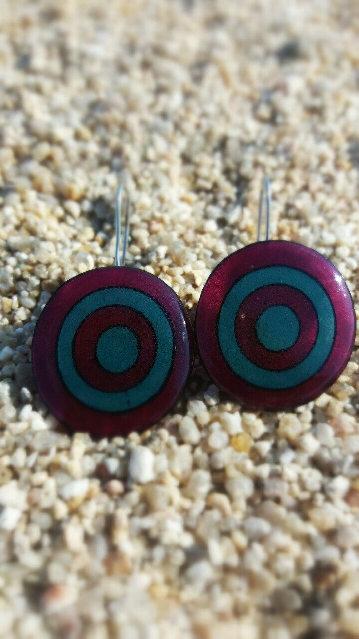 purple and blue petrol circle earrings-dangle earrings-shrink plastic earrings- by DionaCrafts on Etsy