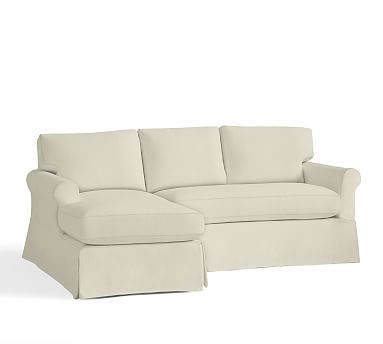 York Roll Arm Right Arm Sofa with Chaise Sectional Slipcover, Premium Performance Basketweave Ivory