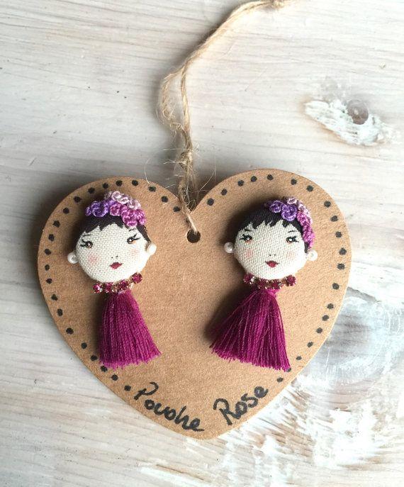 Button earrings Preppy Girl Doll by PoudreRose on Etsy