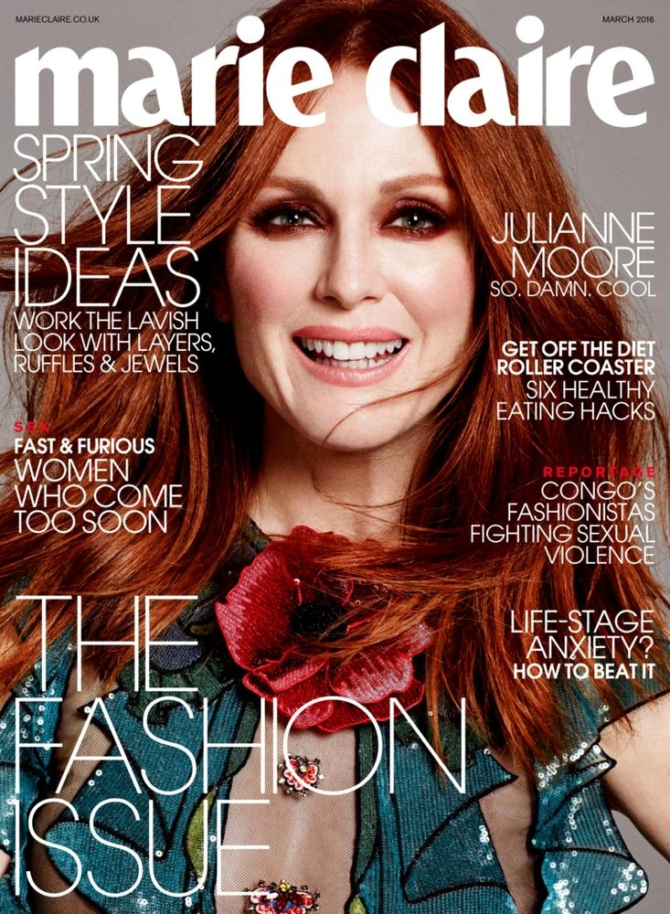 Beauty Mags: Julianne Moore   Marie Claire UK March 2016