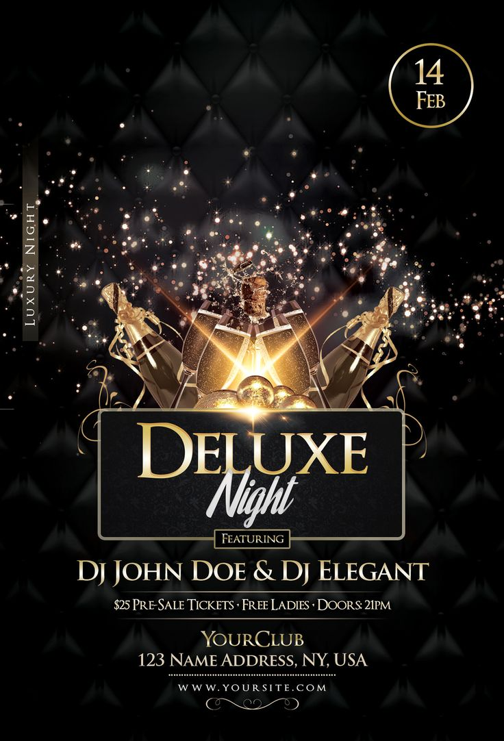 https://flic.kr/p/HAjyg4 | Deluxe Night - Luxury Elegant Flyer | Delude Night is a premium psd flyer template to use for your next event or party. In the end you will get 2 PSD Flyer Templates. These flyers are suitable for any Luxury Events, Birthday Bash Party, Club Night, Valentines Events or more.  Download now
