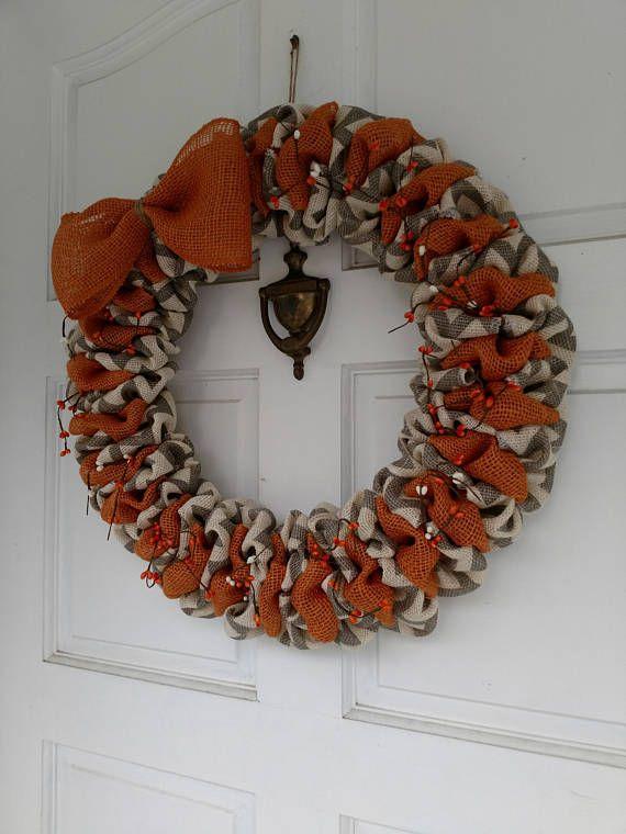 Fall burlap wreath Chevron wreath orange wreath