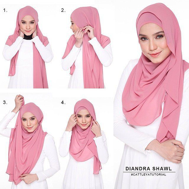 To get a classy and elegant look, trt this long shawl tutorial. It is simple and effortless beauty