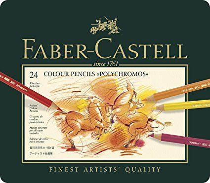 Faber-Castell 110024 - Estuche de metal con 24 ecolápices polychromos, multicolor