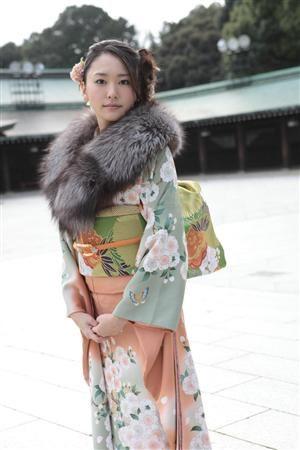 Japanese kimono with fur - beautiful!