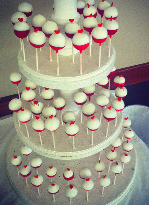 Bobber Heart Cake Pops for a #fishing themed #wedding by #amandacupcake