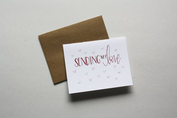 """Send some love and encouraging words, and brighten someones day with this thinking of you card! A2 size card (4.25""""x5x5"""") with a brown kraft"""