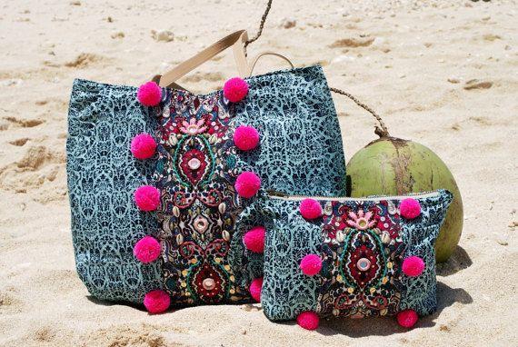 Bolsa de playa/abalorios bolso de la playa pompón por JavaSpirit