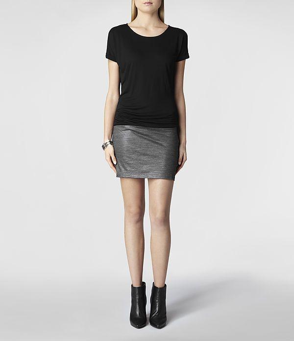 Womens Luso Dress (Black/Charcoal) | ALLSAINTS.com