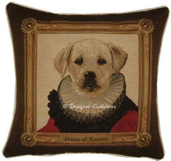 Thierry Poncelet Yellow Labrador Puppy Red by designercushions, $43.00