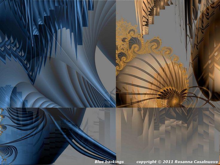 "From ""Fractals and deconstructivism"" the image ""Blue backing"" about the #deconstructivism on fractal images #fractalart #digitalart #abstractart"