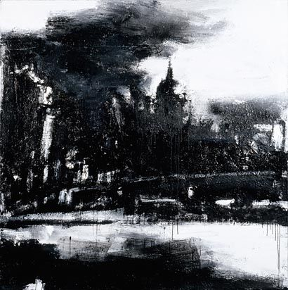 One of a series of views along the Thames, John Virtue's monochromatic landscape shows the dome of St Paul 's Cathedral set against a white background. He employs various painting methods, using different tools that include brushes, rollers and spray guns.    Diane, a member of staff, said this 'stopped me in my tracks when I saw it displayed in the State Rooms lobby whilst rushing by one day.'