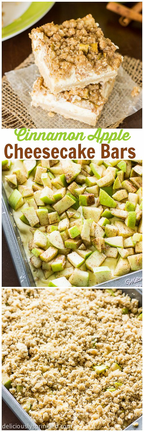 My favorite Cinnamon Apple Cheesecake Bars filled with cheesecake and topped with an apple crumble topping. Recipe by deliciouslysprinkled.com