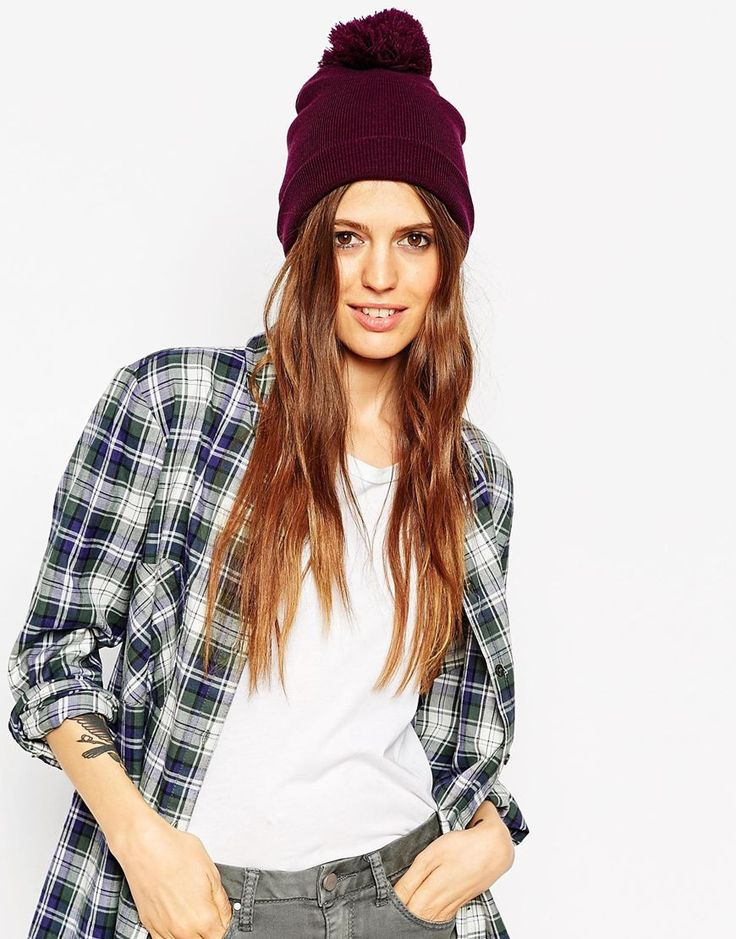 Image 1 of ASOS Short Turn Up Beanie With Pom