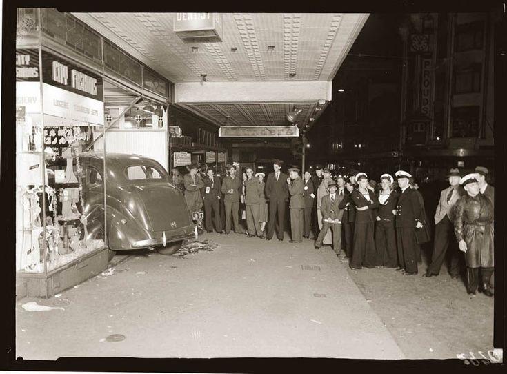 Car crash, Sydney Australia, early 1940s