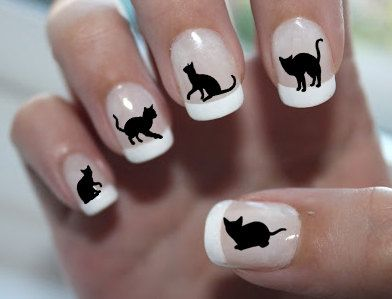 111 Black CATS NAIL DECALS Familiar Symbols Nail by NorthofSalem