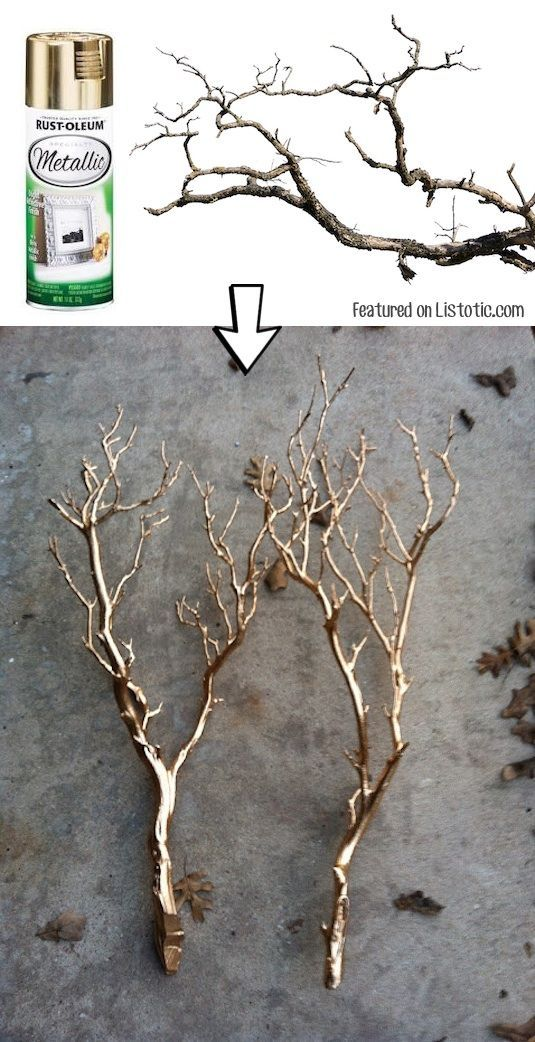 #10. Spray paint branches for a pretty centerpiece or home decor idea. -- 29 Cool Spray Paint Ideas That Will Save You A Ton Of Money