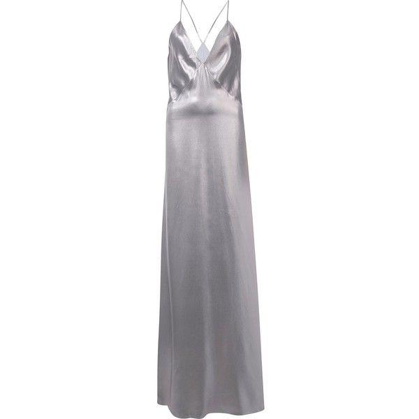 Galvan Satin Maxi Dress ($1,895) ❤ liked on Polyvore featuring dresses, metallic, maxi dresses, maxi length dresses, satin dress, metallic dress and satin maxi dresses