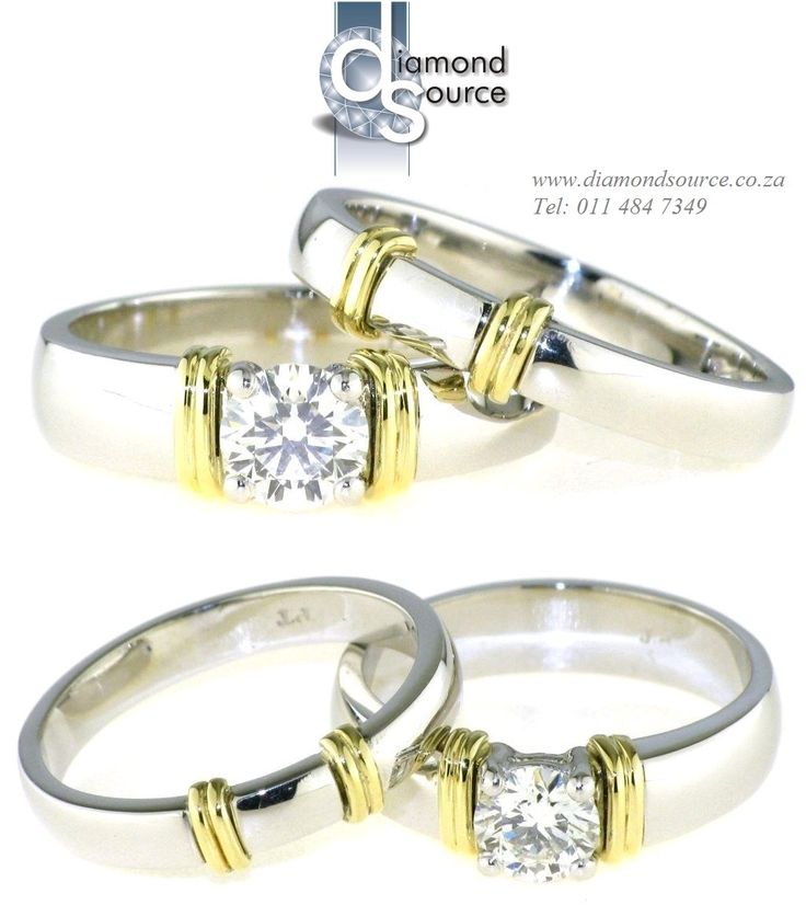 Two Tone Wedding Set -  One of our most recent commissions featuring a wedding set crafted from Platinum and 18ct. Yellow Gold. The engagement ring is set with a 0.55ct. Round Brilliant-cut diamond. Please email or call us with any queries. FREE QUOTATIONS on any jewellery design you require. E: info@diamondsource.co.za W: www.diamondsource.co.za T: 011 484 7349